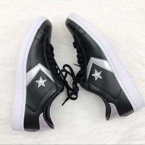 Converse Pro Leather Sneaker Black Silver 6.5 New
